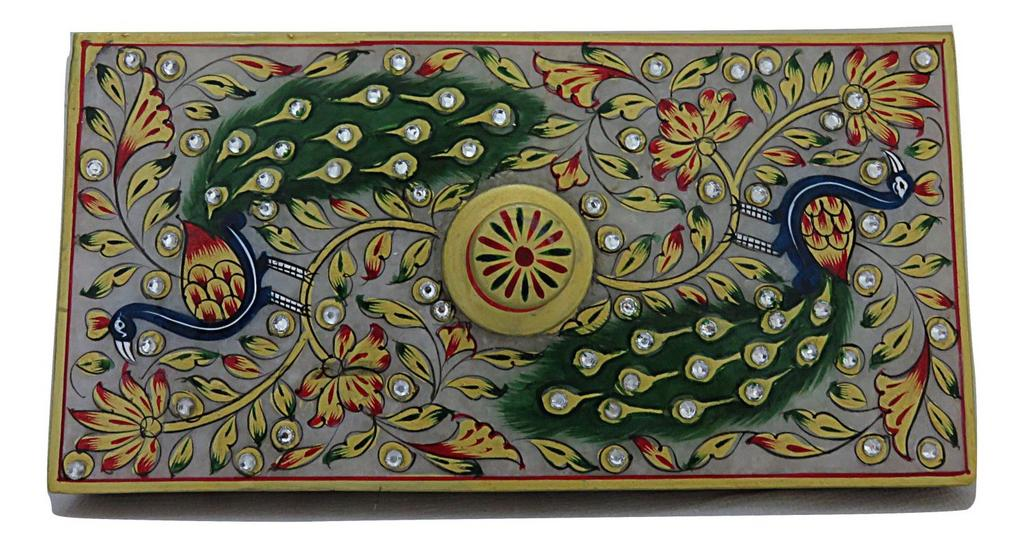IndicHues Handmade Marble Rectangular Decorative Jewelry Box