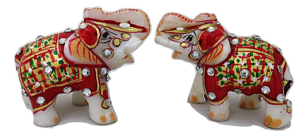 IndicHues Handmade Marble Lucky Elephant statue Handicraft pair in 2 inch