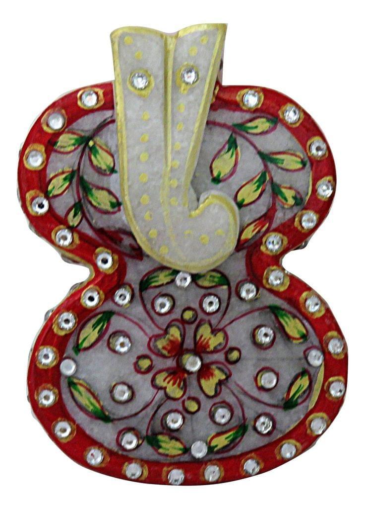 IndicHues Traditional Rajasthani Handicraft Marble Pooja Chopad for  in Ganesha design for Tilak / Roli/ Kumkum and Rice
