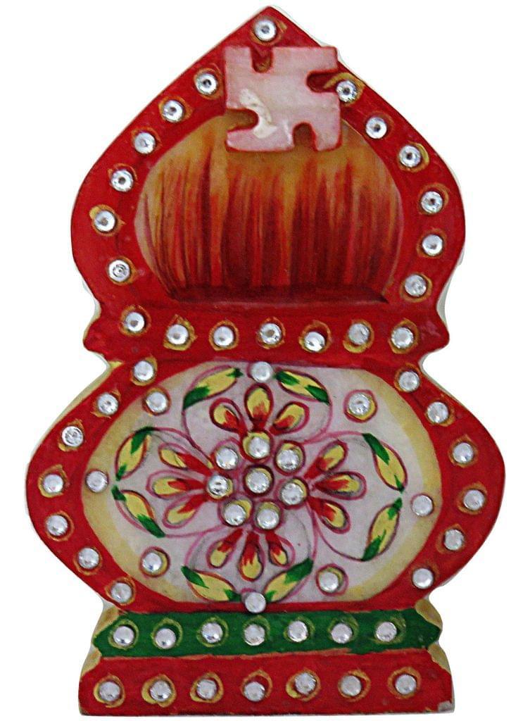 IndicHues Traditional Rajasthani Handicraft Marble Pooja Chopad in Kaslash design for Tilak / Roli/ Kumkum and Rice
