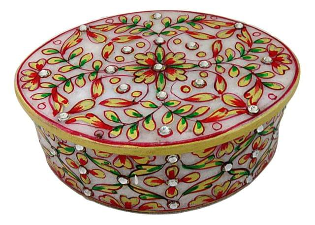 IndicHues Marble Oval Decorative Floral Trinket Jewelry Box