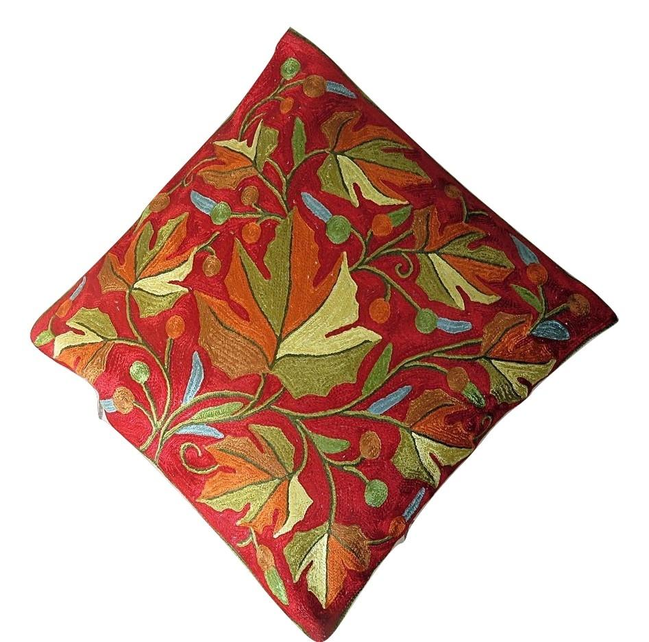 IndicHues Hand Embroidered Crewel 16x16 Cushion Cover in Crimson Red Chinar Design