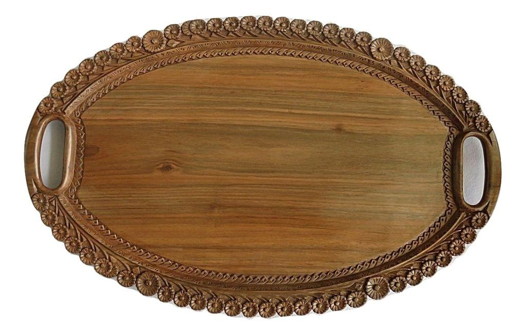 Indichues Wooden Large Oval Decorative Designer Serving Tray with Handles in Walnut from Kashmir