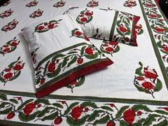 IndicHues Handmade Hand Block Printed Double Bedsheet with two pillow covers in Red Floral Motifs on Cream Base