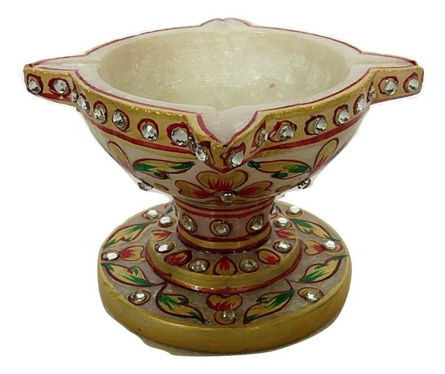 IndicHues Hamdmade Marble Chaumukha Diya with Meenakari work