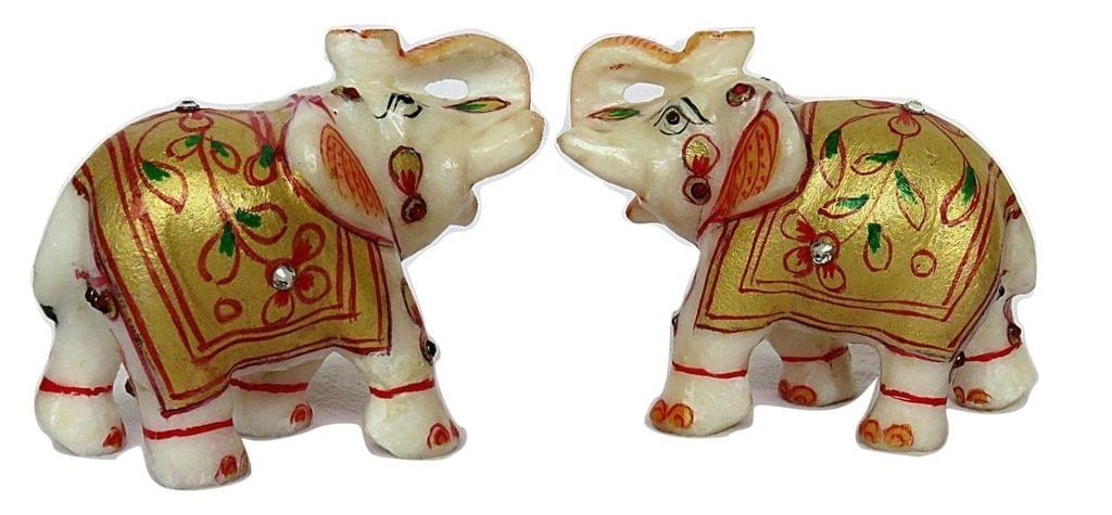 IndicHues Handmade Marble Lucky Elephant statue Handicraft pair in 3 inch