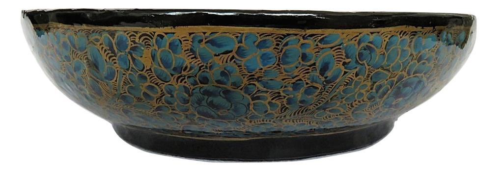 IndicHues Handcrafted Paper Mache Bowl  with Blue and Golden shade from Kashmir