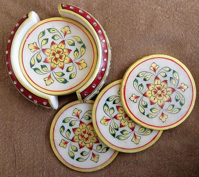 IndicHues Handmade White Marble Coaster with Meenakari Stone work, set of 6,For Coffee, Dinning Table