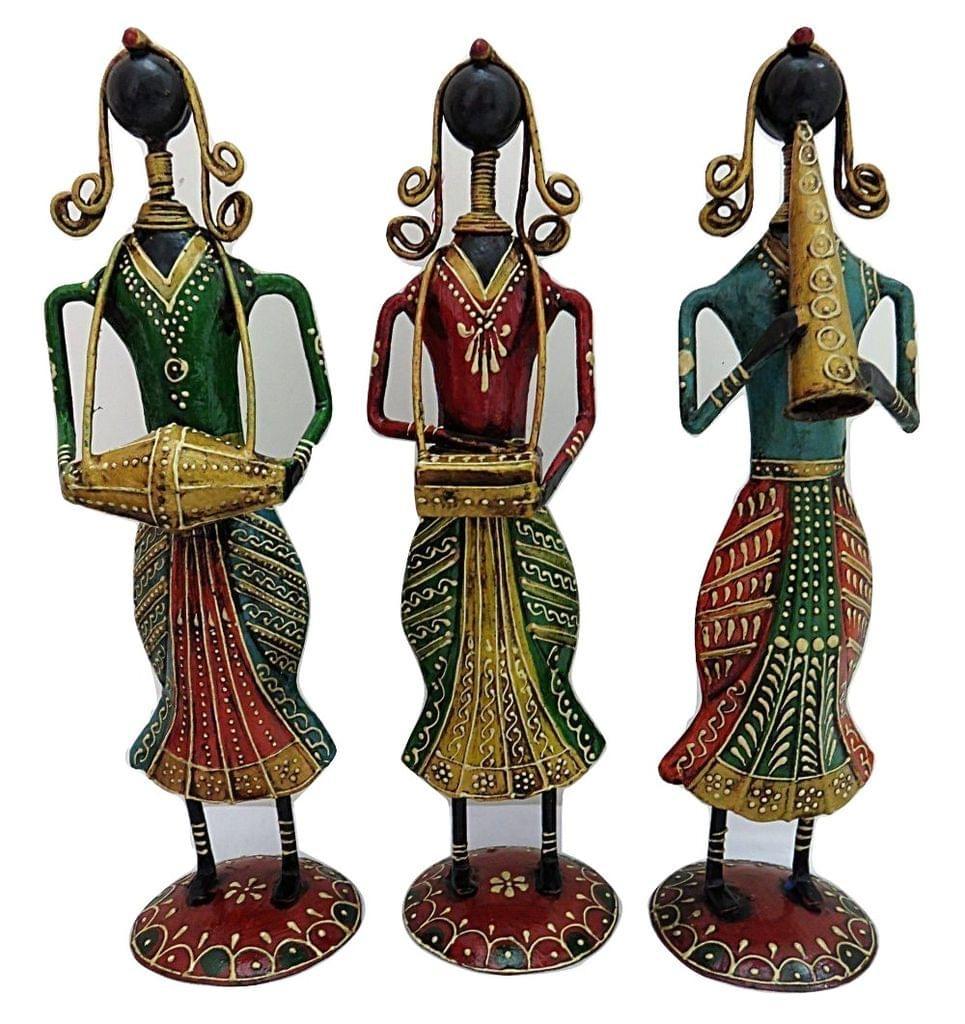 IndicHues Wrought Iron Handicraft Musician Dolls, Set of 3