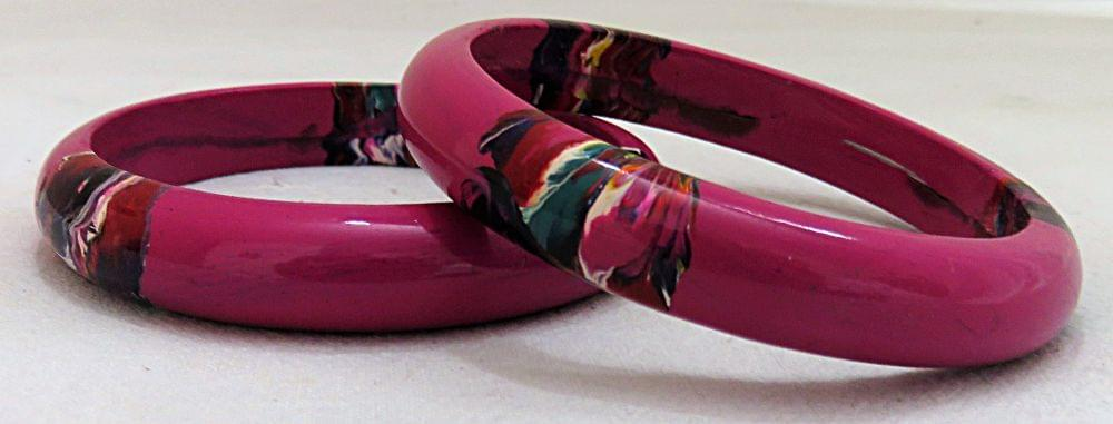 IndicHues Stylish Handmade Pink Lac Bangles Set of 2 from Rajasthan