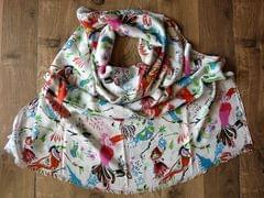 IndicHues soft, lightweight ,breathable Rayon Stole with Colorful Birds on White Base