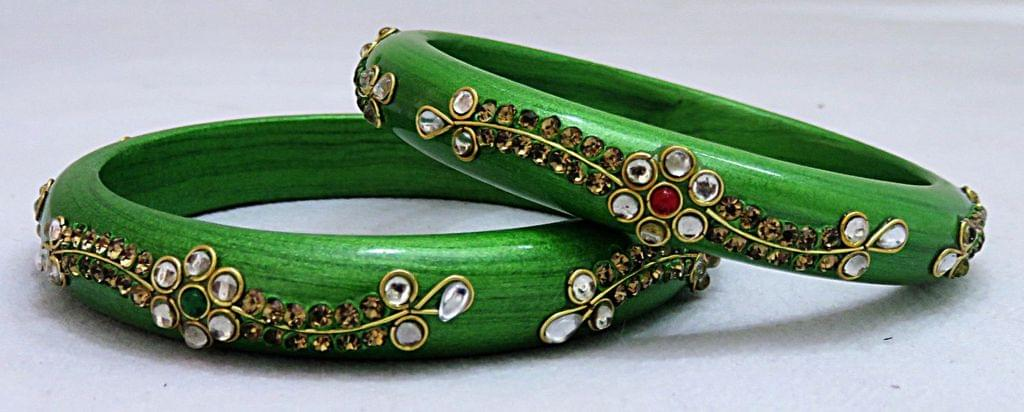 IndicHues Handmade Green Lac Bangles with stone work in set of 2 from Rajasthan