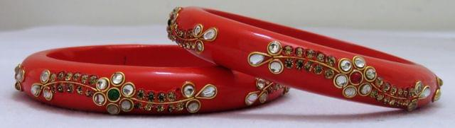 IndicHues Handmade Orange Lac Bangles with stone work in set of 2 from Rajasthan