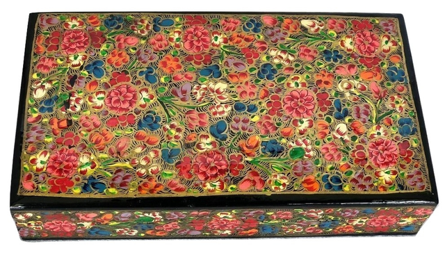 IndicHues Handmade Rectangular Floral Motif Paper Mache Jewelry Box from Kashmir