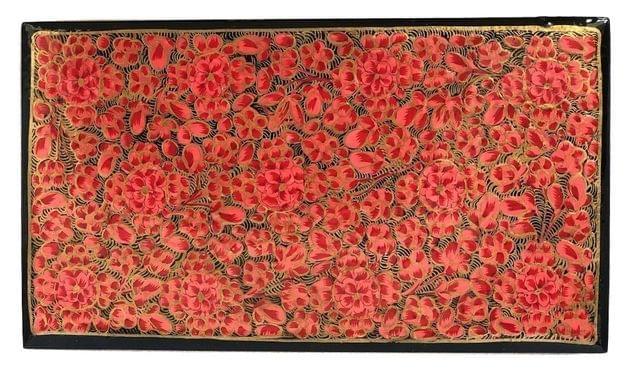 IndicHues Handmade Rectangular Pink Floral Motif Paper Mache Jewelry Box from Kashmir
