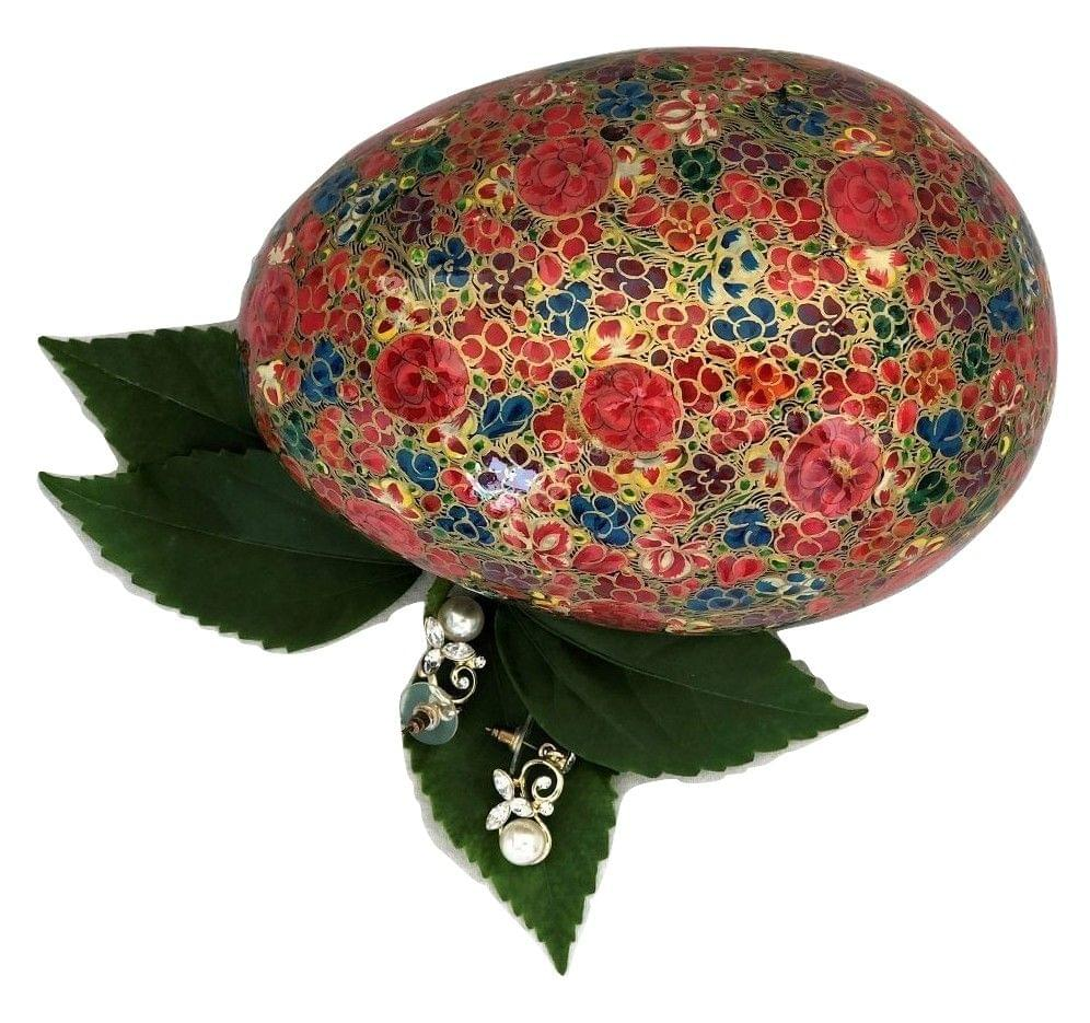 IndicHues Handmade Oval Floral Motif Paper Mache Jewelry Box from Kashmir