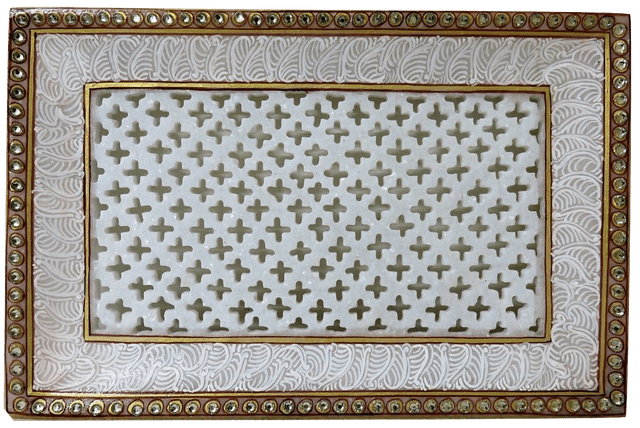 IndicHues Handcrafted Marble Rectangular Tray from Rajasthan
