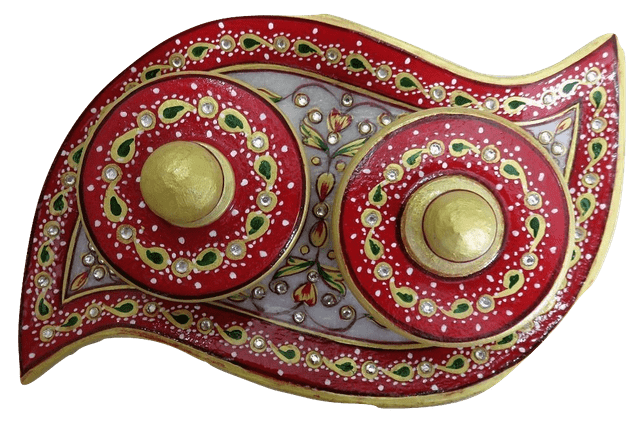 IndicHues Handmade Marble Dry Fruit Serving Tray / Mouth Freshner Tray from Rajasthan