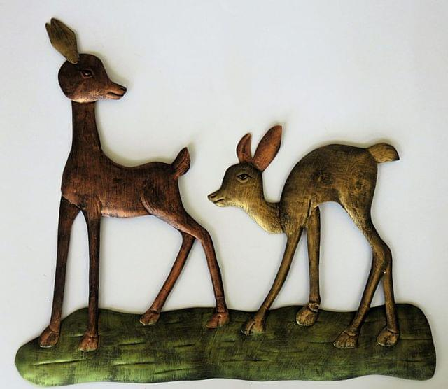 IndicHues Set of Deer in Jungle Wall Art in Wrought Iron