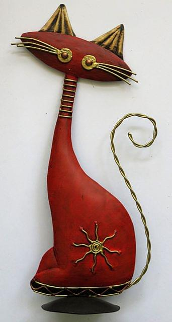 IndicHues Red Cat Wrought Iron Home Decor