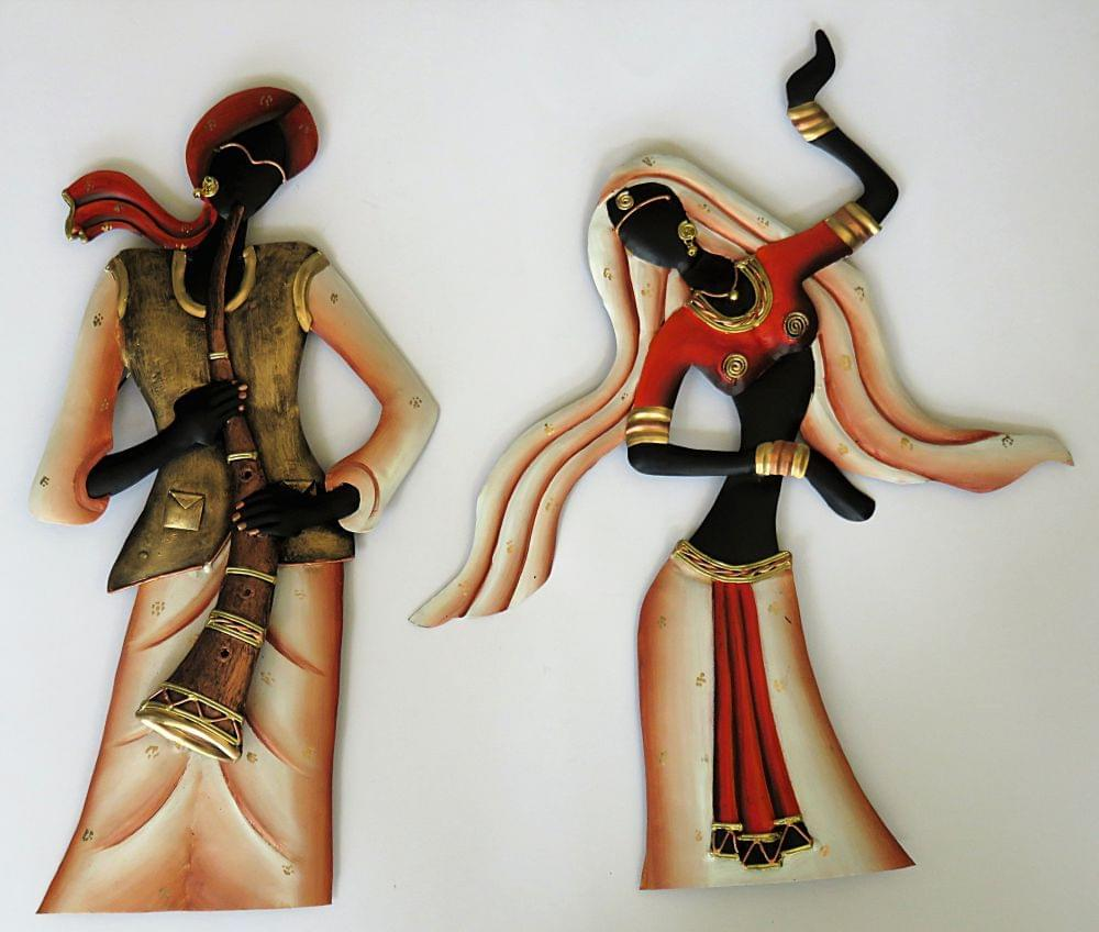 IndicHues Tribal Musician/Folk Dancer Couple in Wrought Iron