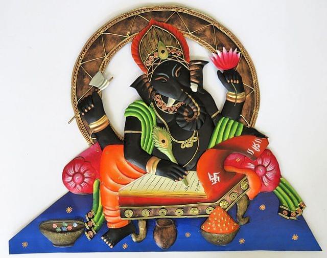 IndicHues Wrought Iron Ganesha Writing an Epic Wall Art