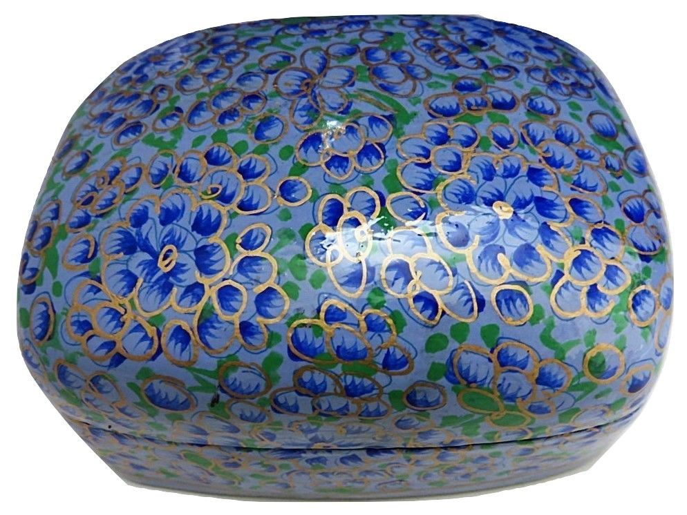IndicHues Handmade Rectangular Blue and Golden Floral Motif Paper Mache Jewelry Box from Kashmir