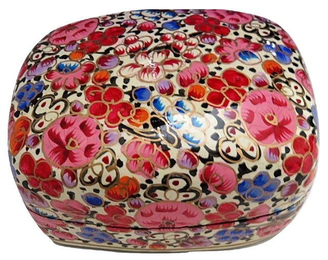 IndicHues Handmade Rectangular Red Pink Floral Motif Paper Mache Jewelry Box from Kashmir