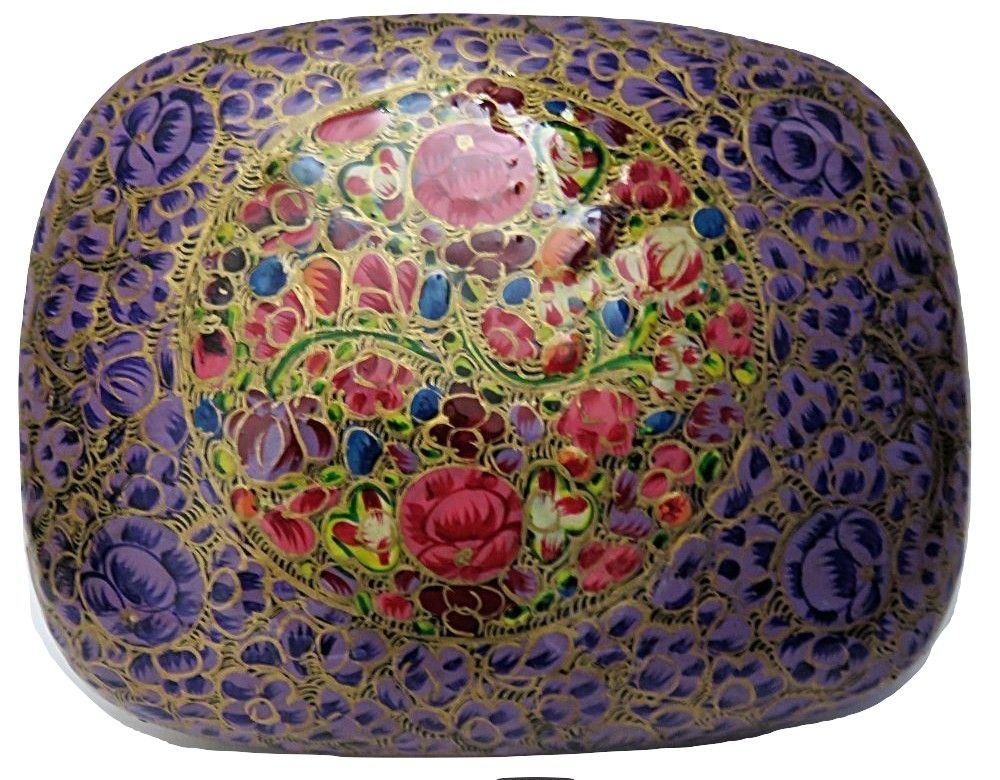 IndicHues Handmade Rectangular Floral Motif  on Purple Base Paper Mache Jewelry Box from Kashmir