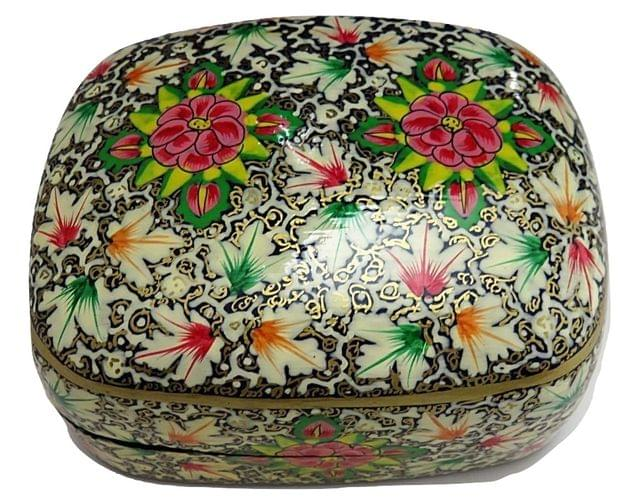 IndicHues Handmade Rectangular Red White Chinar Floral Motif Paper Mache Jewelry Box from Kashmir