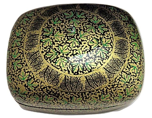 IndicHues Handmade Rectangular Green Golden Chinar leaves Paper Mache Jewelry Box from Kashmir