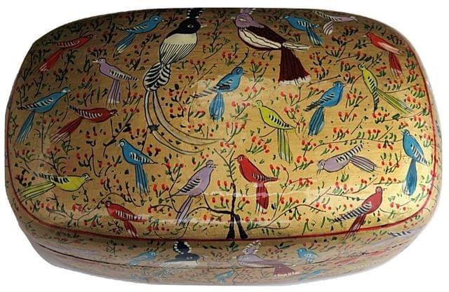 IndicHues Handmade Rectangular Golden Base Birds Design Paper Machie Jewelry Box from Kashmir