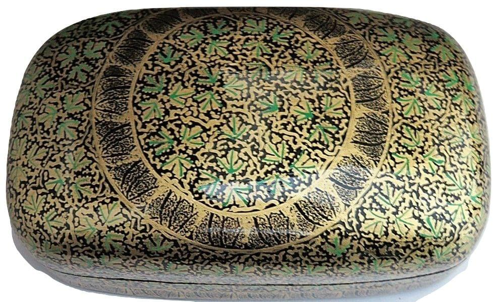 IndicHues Handmade Rectangular Green Chinar Leaves on Black-Paper Machie Jewelry Box from Kashmir