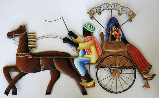"IndicHues Wrought Iron Tribal Couple On Horse Carriage Wall Art (25""x15.5"")"