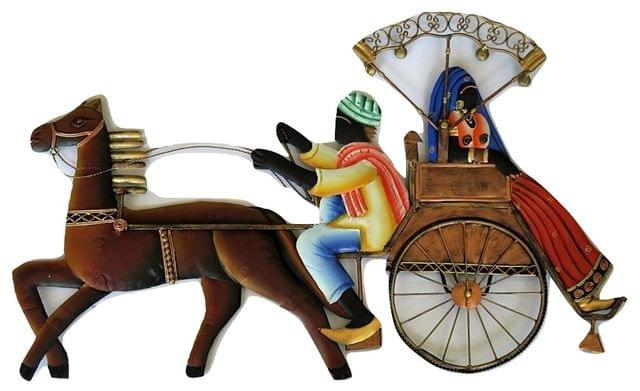 """IndicHues Wrought Iron Tribal Couple On Horse Carriage Wall Art (25""""x15.5"""")"""