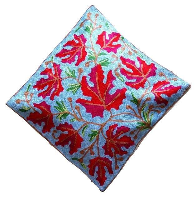 IndicHues Hand Embroidered Kashmiri Crewel 16x16 Cushion Cover in Red Chinar motif with Light Blue Base