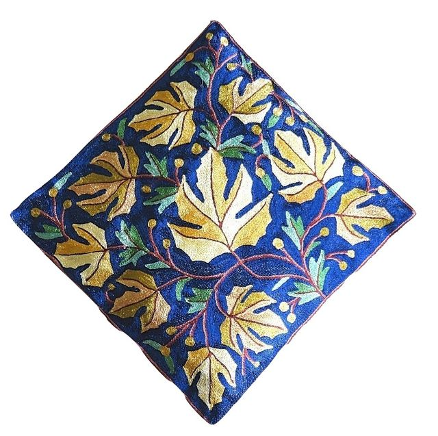 IndicHues Hand Embroidered Kashmiri Crewel 16x16 Cushion Cover in Yellow Chinar motif with Dark Blue Base