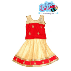 Little Bee Red Netted Choli Pavadai