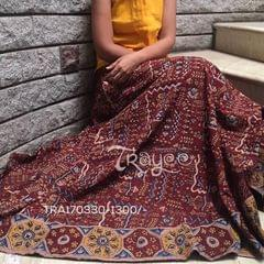 Trayee Maroon Cotton Kalamkari Printed Full Length Flared Skirt