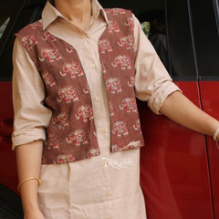 Trayee Cotton Kurta with Elephant Print Jacket