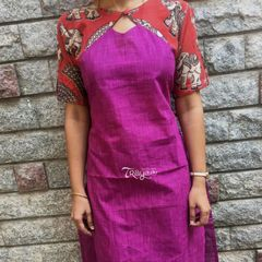 Trayee Purple Kalamkari Cold Shoulder Cotton Kurta