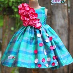 Little Bee Check Silk Flower Craft Designer Frock