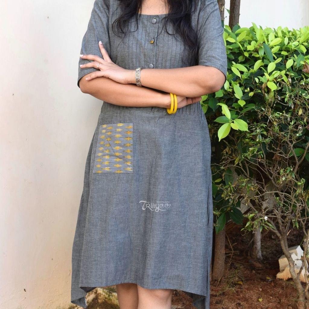 Trayee Grey Asymmetrical Cotton Dress with Pocket