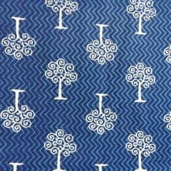 Aarika Indigo Cotton Running Material with Trees Print