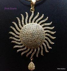 Pink Pearls Micro Gold Sun Zircon Pendant