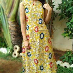Trayee Yellow Kalamkari Anarkali Kurta