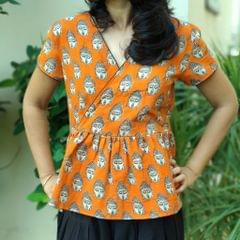 Trayee Orange Cotton Balloon Short Top with Buddha Print