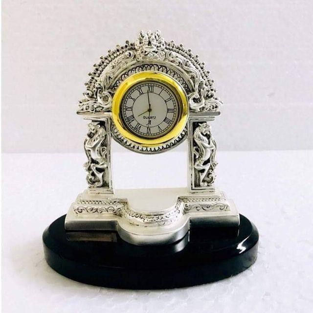 Smile Decors Silver Plated Pillar Clock