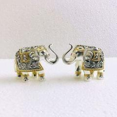 Smile Decors Silver/Gold Plated Elephant Idol