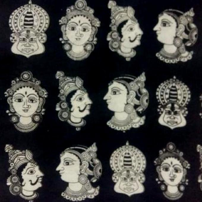 Pink Pearls Black Kalamkari Cotton Running Material with Multi Faces